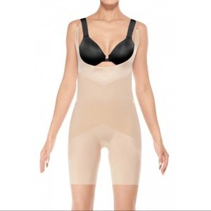 NWT SPANX | Nude Open Bust Mid Thigh Bodysuit